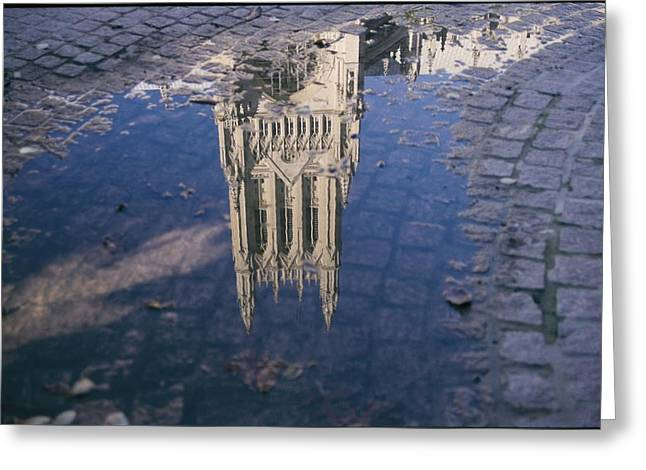 A Puddle In The Cobblestone Walk Greeting Card by Stephen St. John