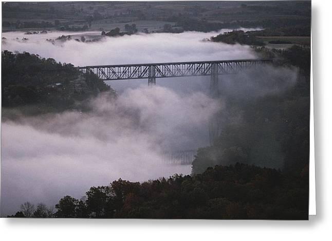 A Railroad Bridge Crosses A Fog-bound Greeting Card