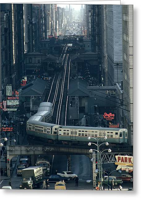A Railway Encircles Thirty-five Blocks Greeting Card by James L. Stanfield