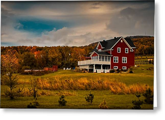 A Red Farmhouse In A Fallscape Greeting Card by Chantal PhotoPix