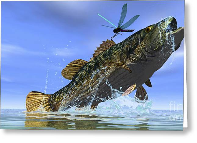 A Redeye Bass Jumps But Just Misses Greeting Card by Corey Ford