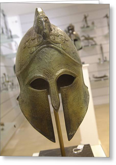 A Replica Of An Ancient Greek Helmet Greeting Card by Richard Nowitz