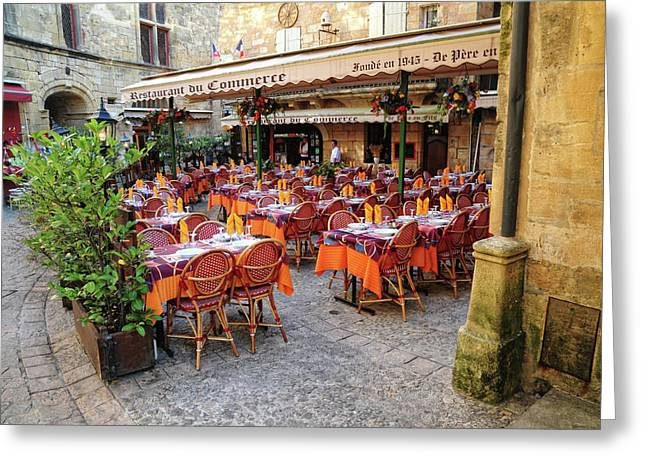 A Restaurant In Sarlat France Greeting Card by Dave Mills