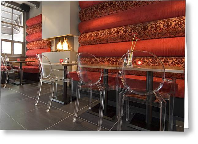 A Restaurant Interior.  Tables Greeting Card