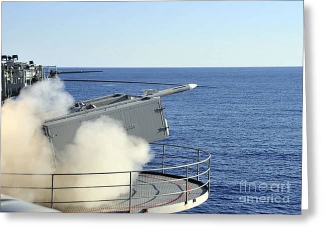 A Rim-7 Sea Sparrow Is Launched Greeting Card by Stocktrek Images