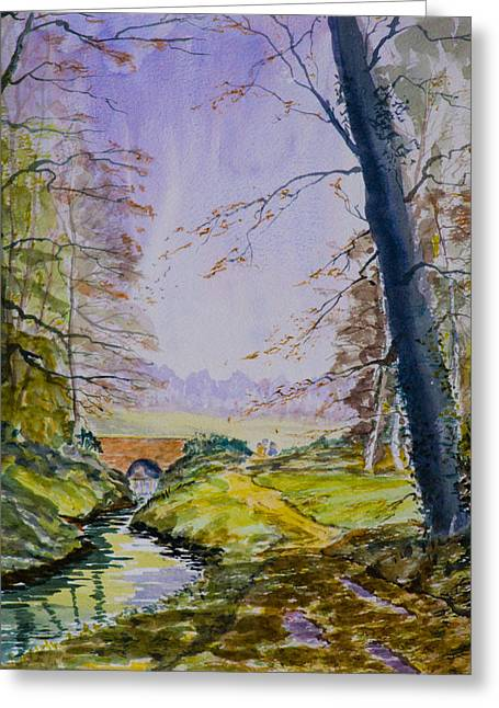 Greeting Card featuring the painting A River Flows Gently by Rob Hemphill