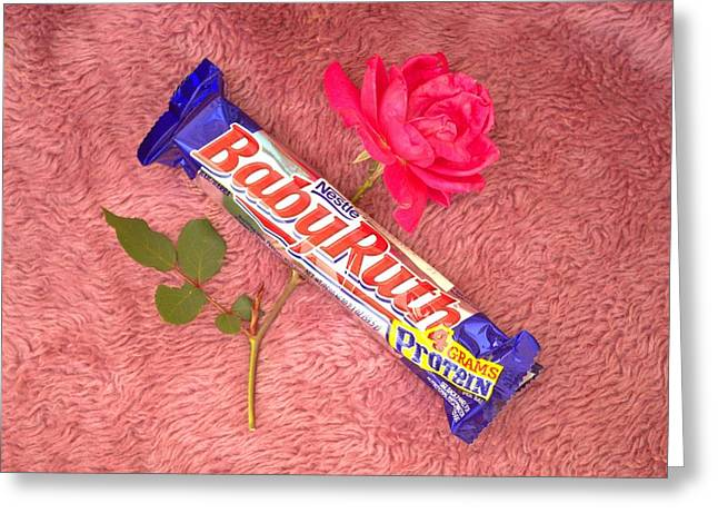 A Rose And A Babyruth Greeting Card by Tom Zukauskas