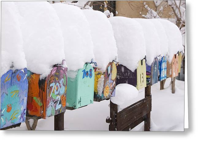 A Row Of Mailboxes In Winter Greeting Card by Ralph Lee Hopkins