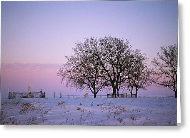 A Rural Cemetery, Snow, And Bare Trees Greeting Card