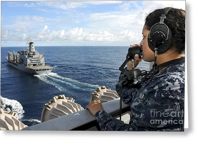 A Sailor Stands Forward Lookout Watch Greeting Card by Stocktrek Images