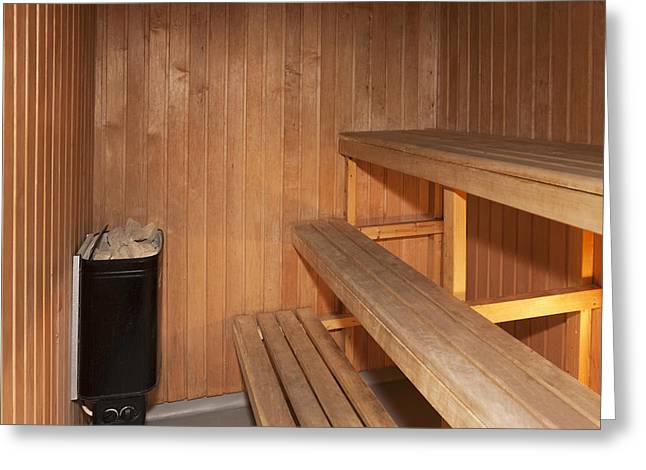 A Sauna Room Lined With Pine Greeting Card by Jaak Nilson