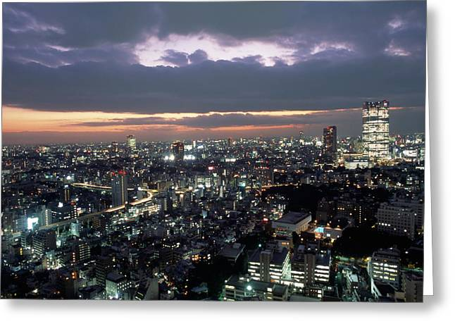 A Scene Of The Tokyo Skyline Greeting Card
