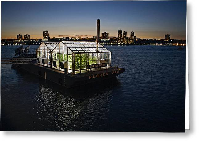 A Scientific Barge On The Hudson River Greeting Card by Tyrone Turner