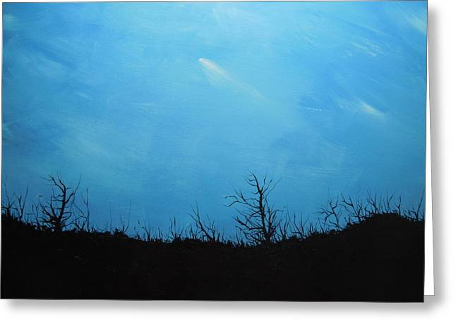 A Shooting Star In An Azure Sky Greeting Card by Dan Whittemore