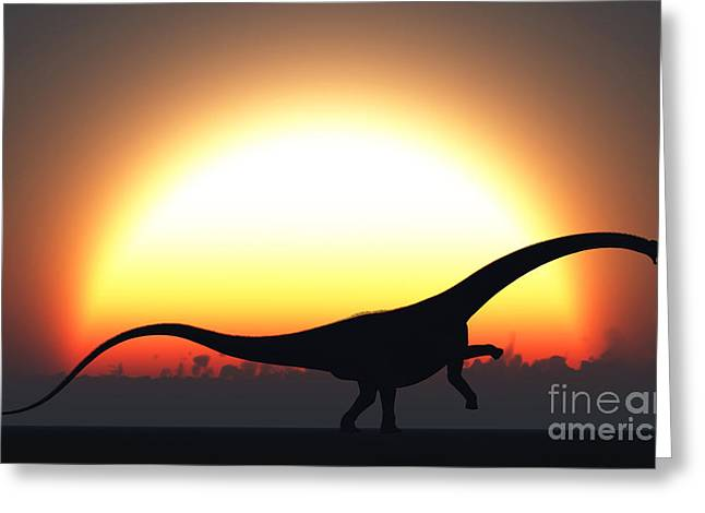 A Silhouetted Diplodocus Dinosaur Takes Greeting Card by Mark Stevenson