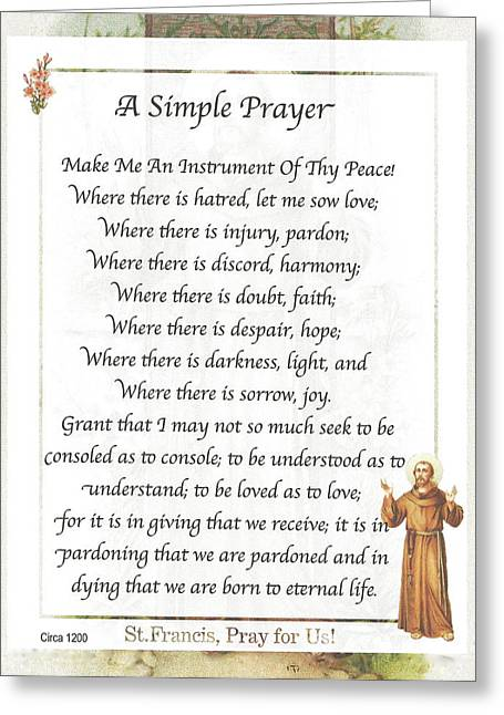 A Simple Prayer By Saint Francis Greeting Card by Desiderata Gallery