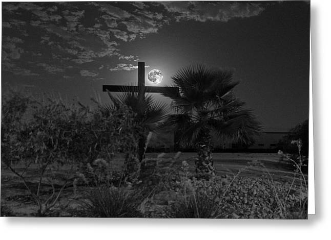 A Simple Wooden Cross In The Moonlight Greeting Card
