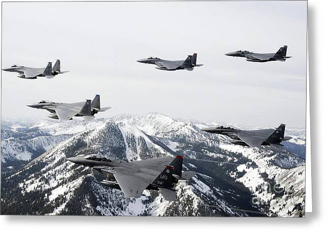 A Six-ship Formation Of Aircraft Fly Greeting Card