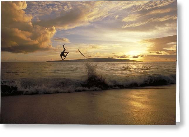 A Skimboarder Flips Head Over Heels Greeting Card