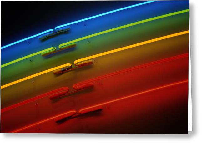 A Slice Of Neon Rainbow In A Bookstore Greeting Card by Stephen St. John