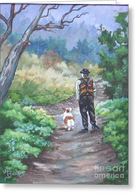 A Slow Walk In The Woods Greeting Card by Ann Becker