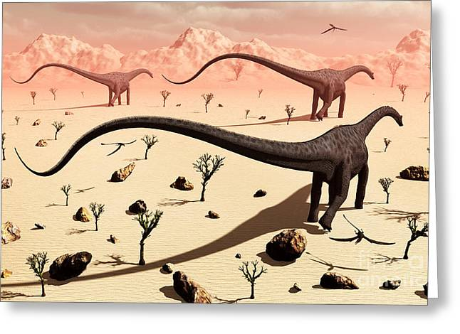 A Small Group Of Diplodocus Sauropod Greeting Card by Mark Stevenson