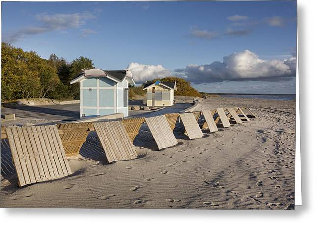 A Small Wooden Wall On Parnu Beach Greeting Card by Jaak Nilson