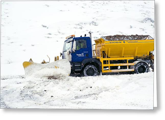 A Snow Plough Clearing A Road Greeting Card by Duncan Shaw