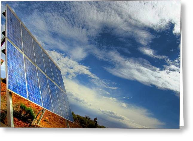 A Solar Panel In The Desert Of South Greeting Card by Brooke Whatnall