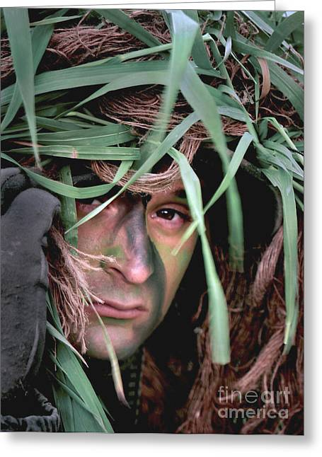 A Soldier Camouflaged In His Ghillie Greeting Card by Stocktrek Images