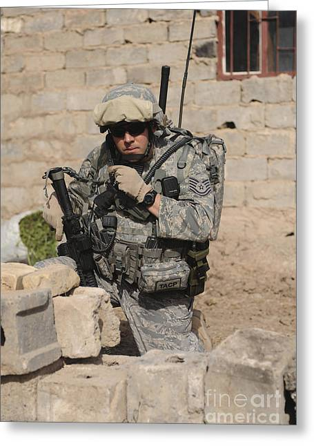 A Soldier Communicates His Location Greeting Card by Stocktrek Images