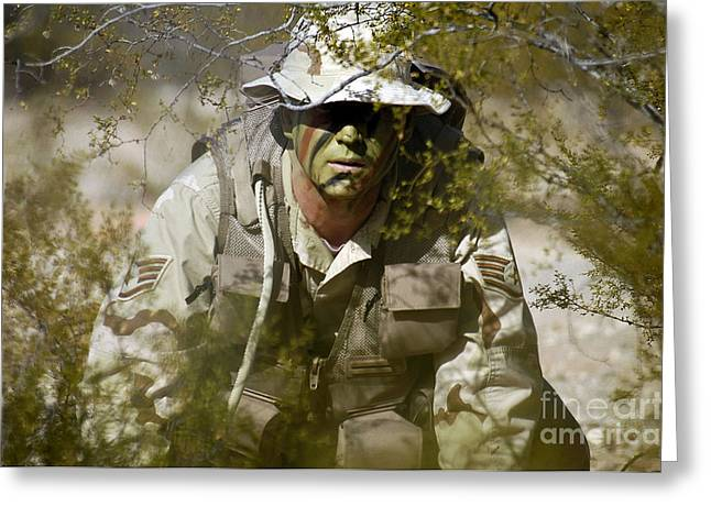 A Soldier Practices Evasion Maneuvers Greeting Card by Stocktrek Images
