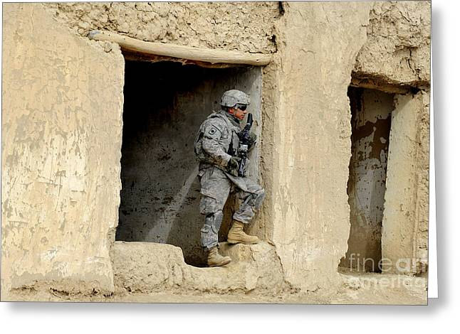 A Soldier Pulls Security During A Trip Greeting Card by Stocktrek Images