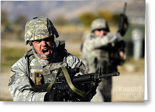 A Soldier Shows His Emotions Greeting Card by Stocktrek Images