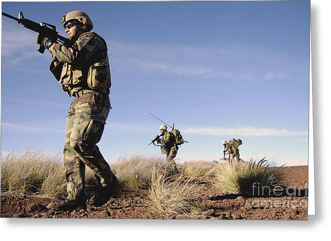 A Soldier Takes Point While Training Greeting Card by Stocktrek Images