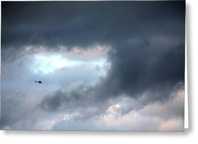 A Speck In The Sky Greeting Card by Terry Wallace