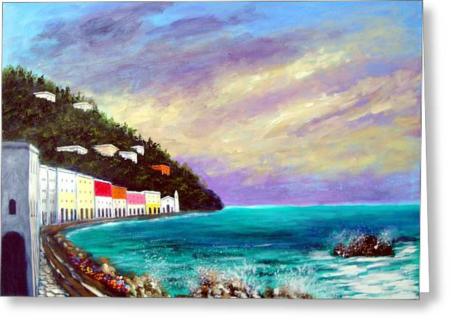A Splash Of The Mediterranean  Greeting Card by Larry Cirigliano