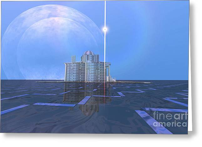 A Star Shines On Alien Architecture Greeting Card by Corey Ford