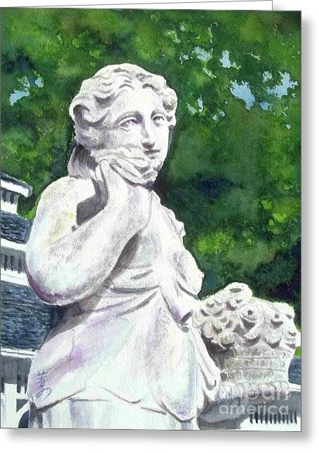 Greeting Card featuring the painting A Statue At The Wellers Carriage House -1 by Yoshiko Mishina