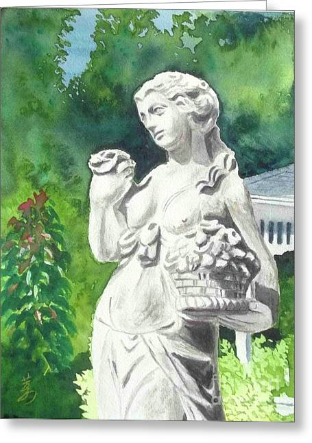 Greeting Card featuring the painting A Statue At The Wellers Carriage House -2 by Yoshiko Mishina