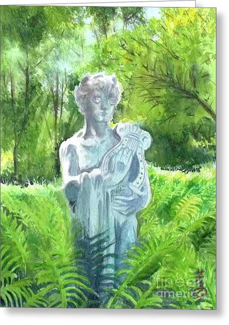 Greeting Card featuring the painting A Statue At The Wellers Carriage House -4 by Yoshiko Mishina