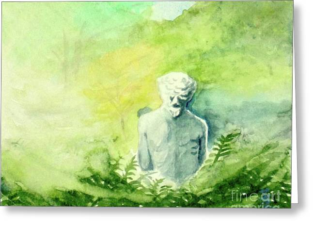 Greeting Card featuring the painting A Statue At The Wellers Carriage House -5 by Yoshiko Mishina
