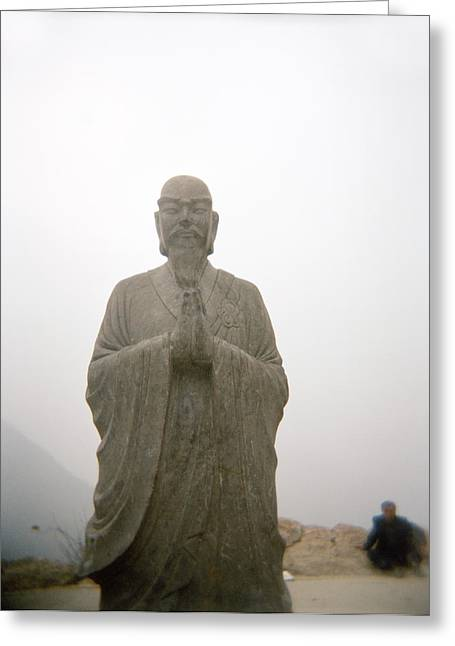A Statue Of A Buddhist Monk In China Greeting Card by Justin Guariglia