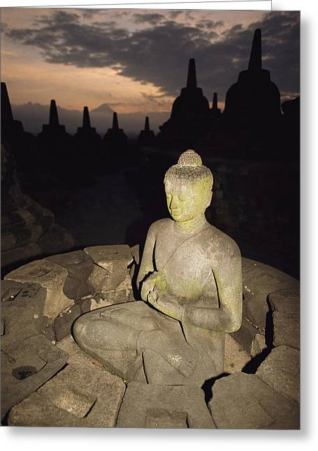A Statue Of Buddha,  Borobudur, Java Greeting Card by Paul Chesley