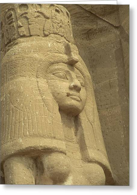 A Statue Of Nefertari At The Entrance Greeting Card