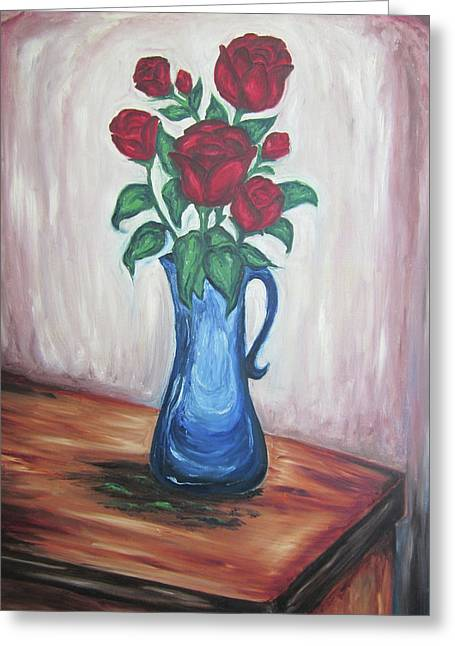 Greeting Card featuring the painting A Still Life Of Red Roses by Cheryl Pettigrew
