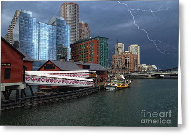 A Storm In Boston Greeting Card