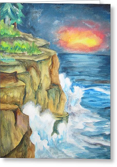 Greeting Card featuring the painting A Storm Is Brewing On The Great Lakes - Wcs by Cheryl Pettigrew