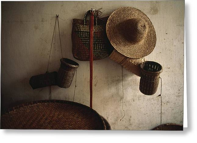 A Straw Hat, Straw Baskets And A Belt Greeting Card by James P. Blair