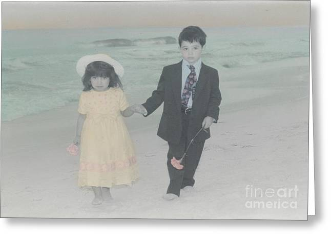 Greeting Card featuring the photograph A Stroll On The Beach by Lori Mellen-Pagliaro